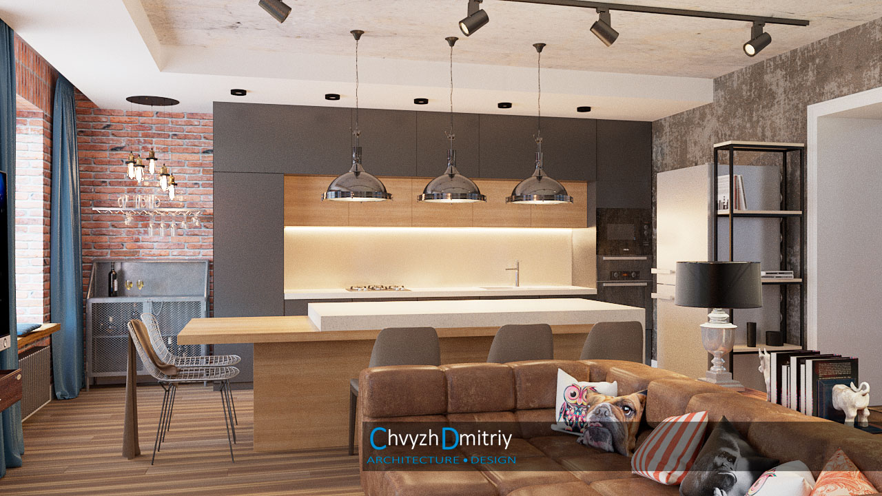 Дизайн интерьера в Днепре Кухня-гостиная