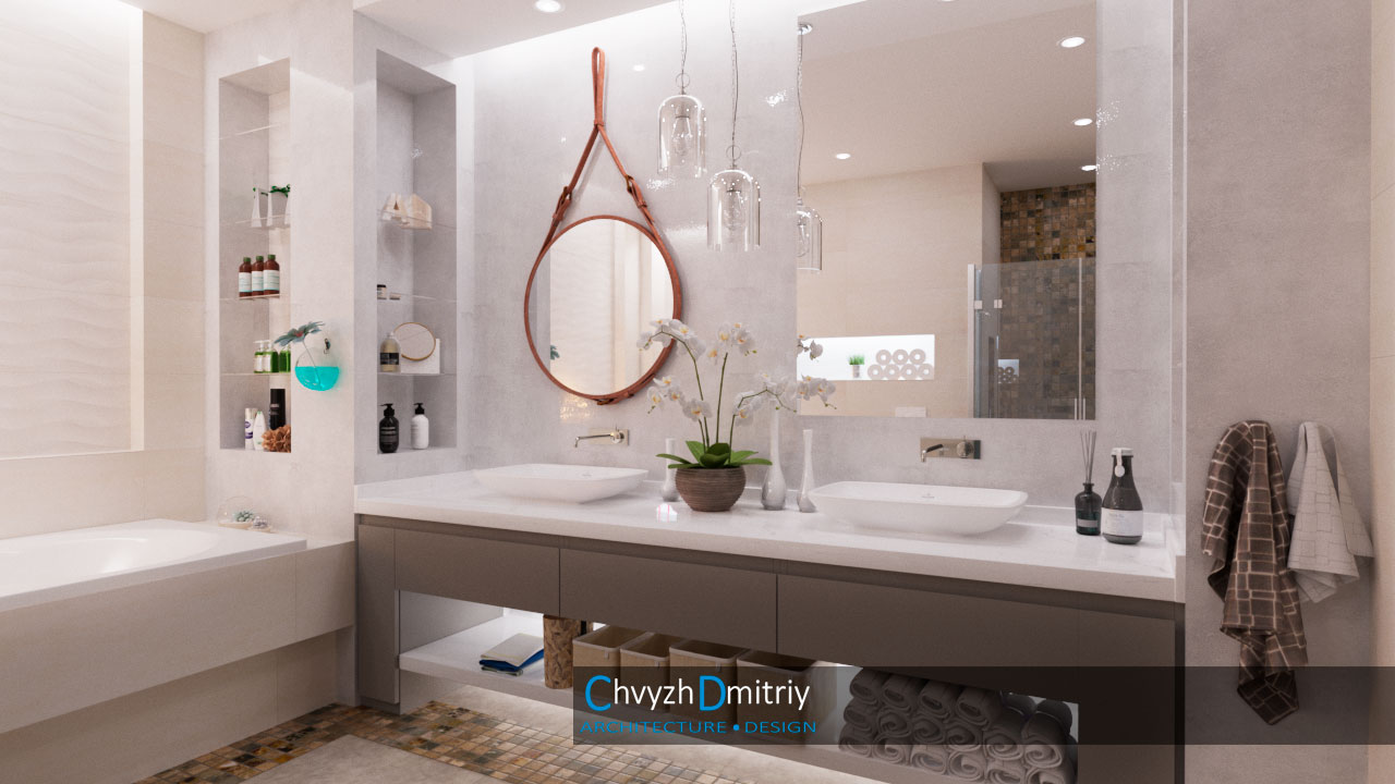 Санузел при спальне, ванна, душ, унитаз, биде, два умывальника