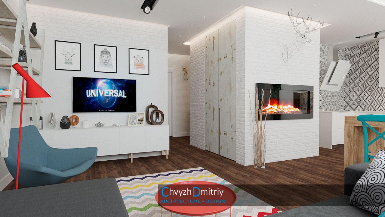Гостиная Кухня гостиная камин столовая скандинавский стиль декор текстиль ковер тумба кресло твзона освещение кирпичная кладка