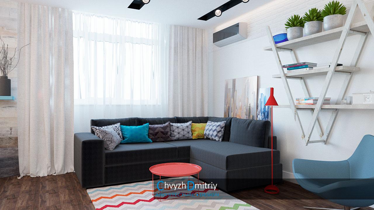 Гостиная гостиная скандинавский стиль декор текстиль ковер тумба кресло твзона освещение полки кирпичная кладка дерево паркет ламинат
