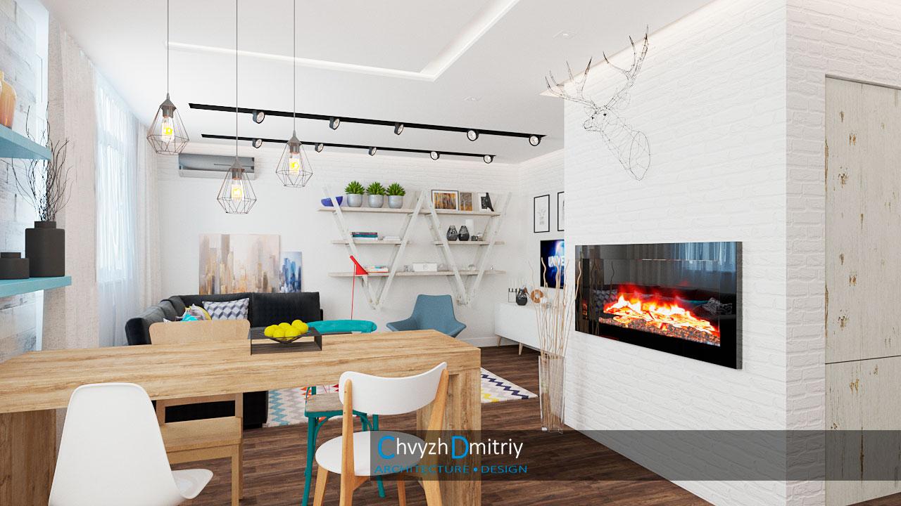 Гостиная в скандинавском стиле Кухня гостиная камин столовая скандинавский стиль декор текстиль ковер тумба кресло твзона освещение кирпичная кладка дерево паркет ламинат стол обеденый стулья