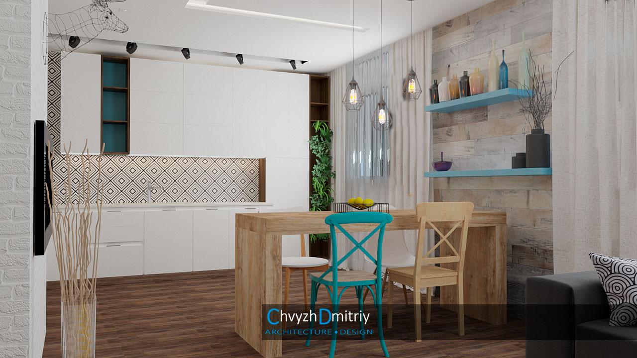 Кухня. Кухня гостиная камин столовая скандинавский стиль декор текстиль освещение кирпичная кладка дерево паркет ламинат стол обеденый стулья