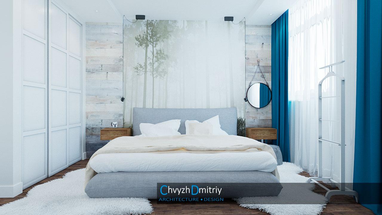 Спальня Спальня кровать скандинавский стиль декор текстиль ковер зеркало дерево паркет ламинат