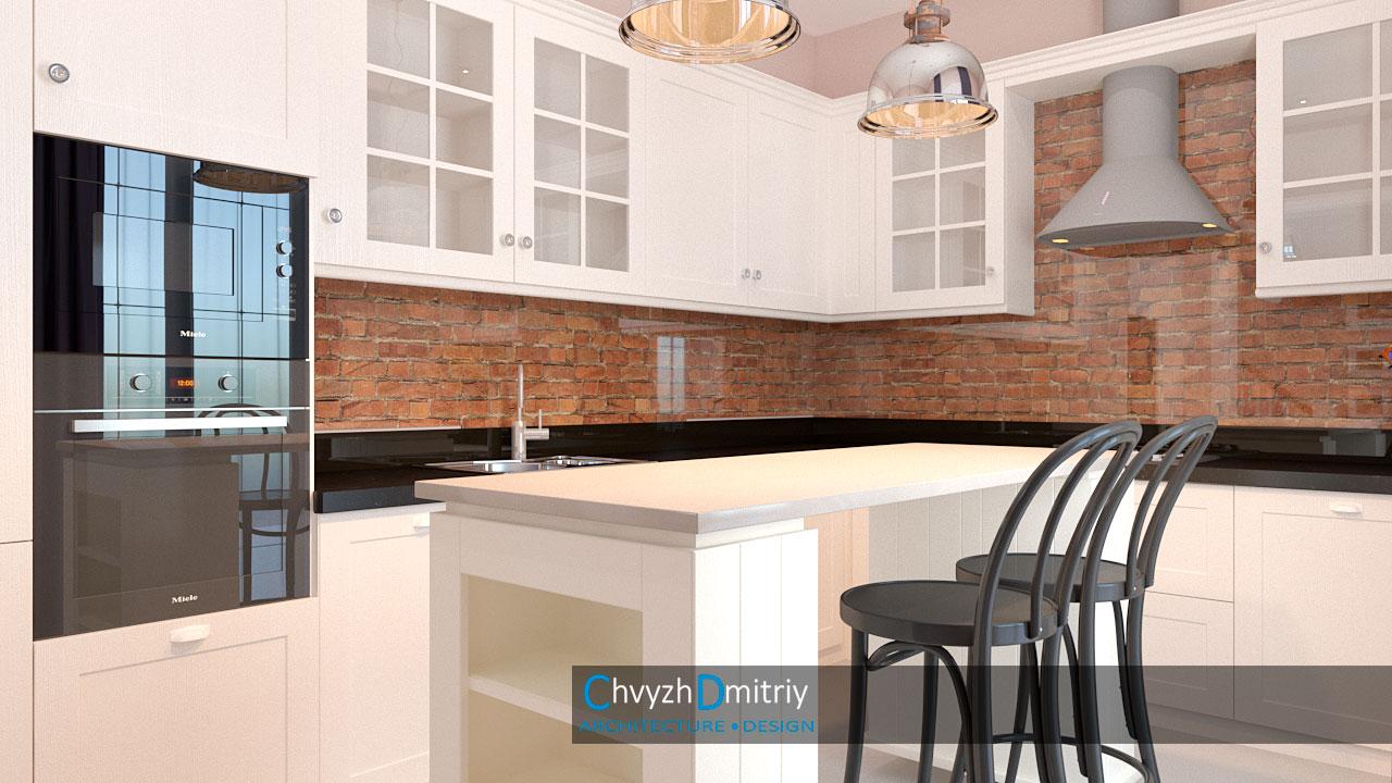Кухня дизайн современная классика неоклассика кирпич фартук встроенная техника остров барный стул