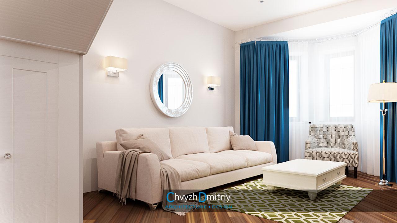 Гостиная диван зеркало текстиль декор классика американская классика неоклассика кресло эркер