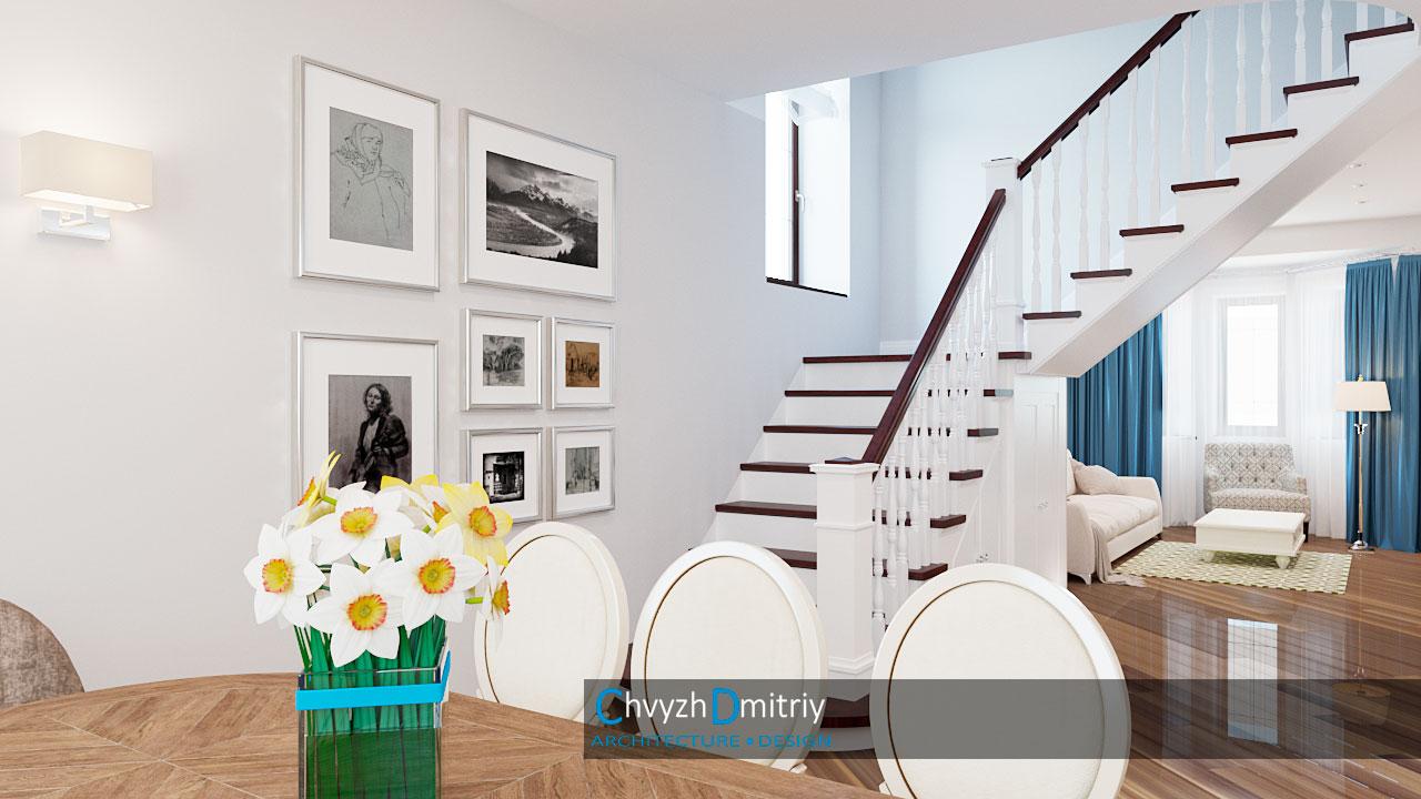 Гостиная столовая классика неоклассика лестница декор мебель дерево паркет