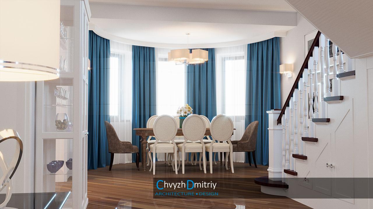 Гостиная столовая классическая мебель стол стулья обеденный стол лестница балясины перила освещение текстиль витрина эркер