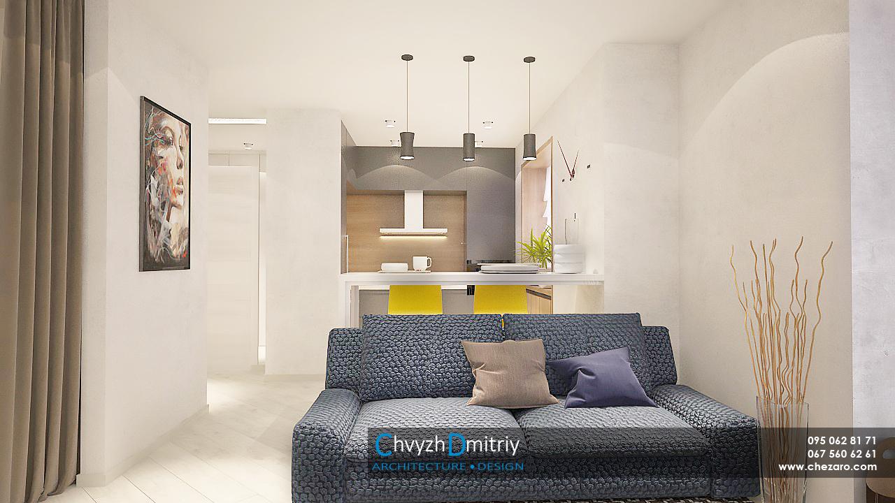 гостиная с синим диваном, барная стойка с желтыми стульями смарт квартира