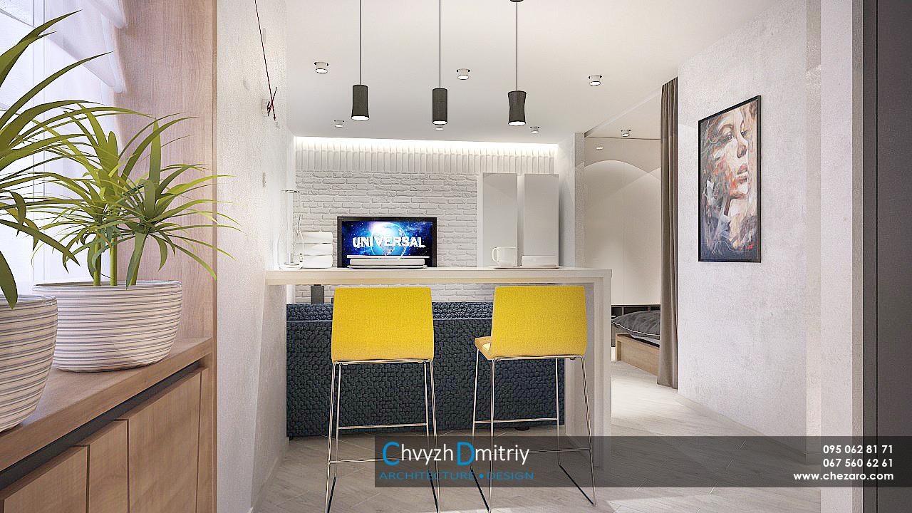 кухня-гостиная в современном стиле Гостиная кухня спальня кровать альков ниша текстиль декор декоративные панели дерево диван барная стойка