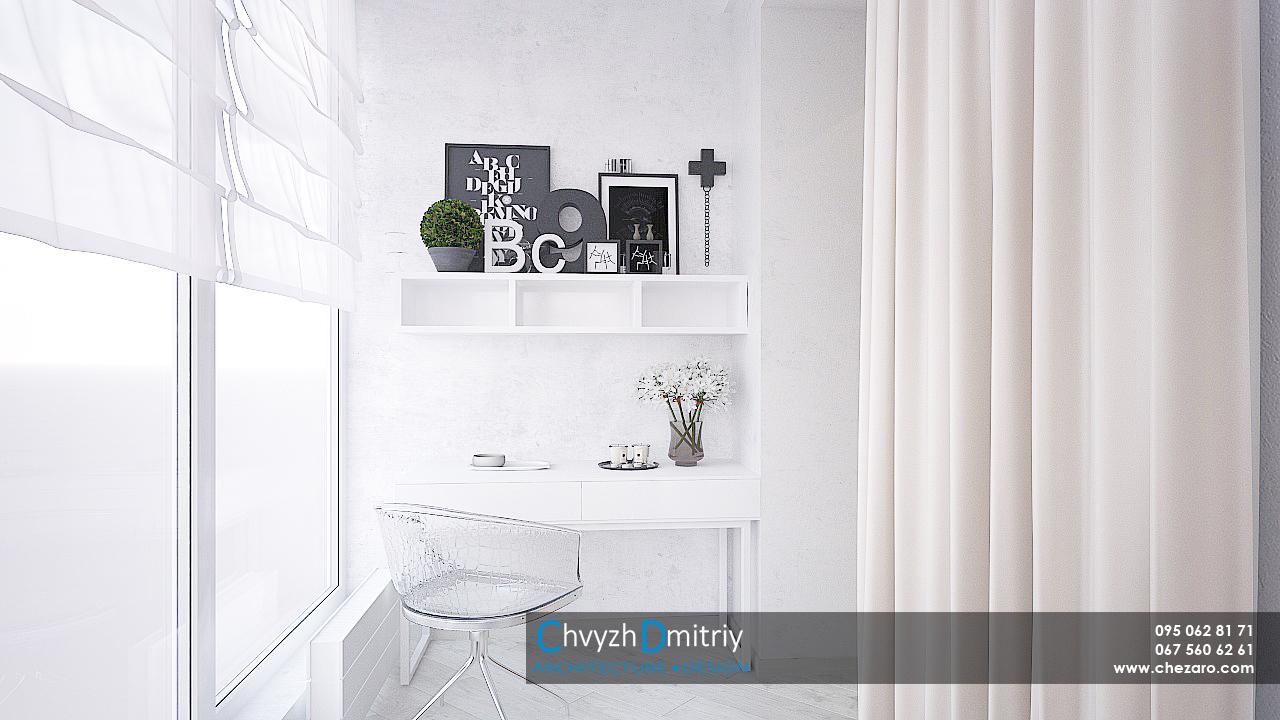 Балкон рабочее место стол туалетный столик декор текстиль минимализм современный дизайн