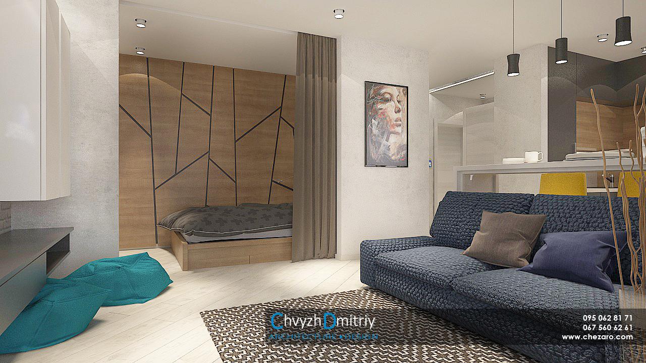 Гостиная кухня спальня кровать альков ниша текстиль декор декоративные панели дерево диван барная стойка шкафы кресломешок ковер свет освещение