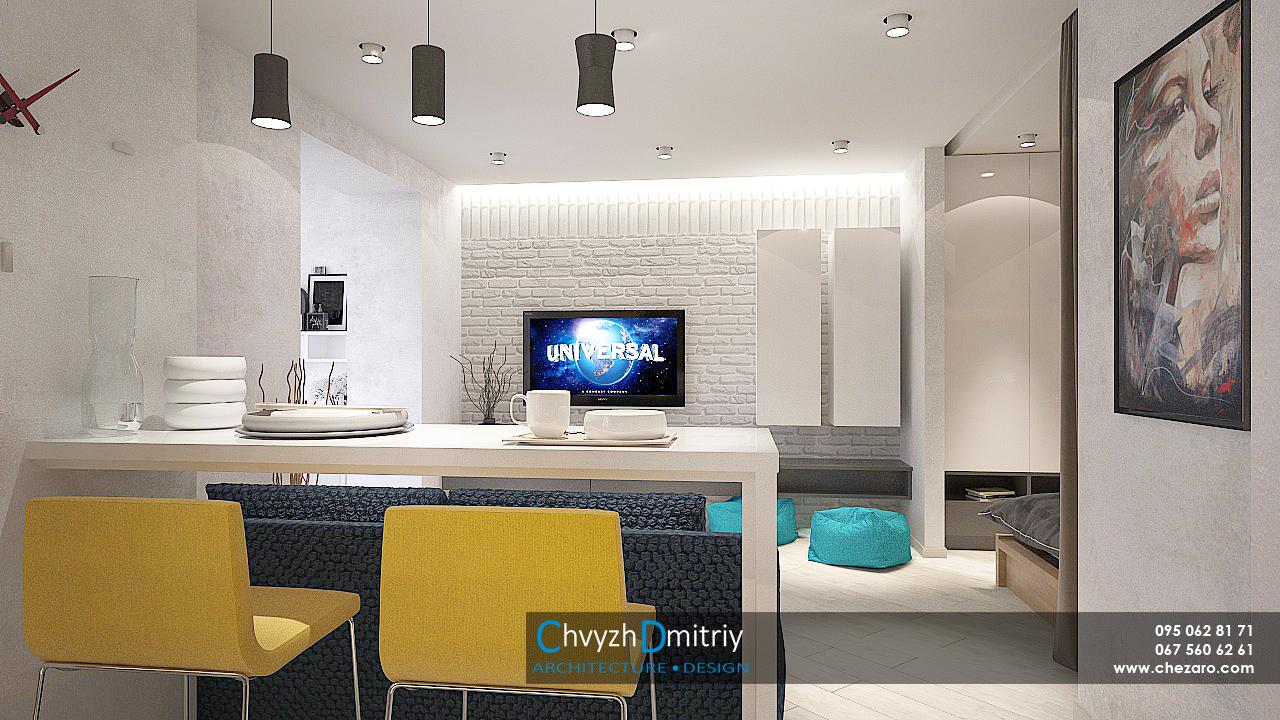 Кухня гостиная барная стойка минимализм современный дизайн декор текстиль шкафы твзона барный стул кирпичная кладка