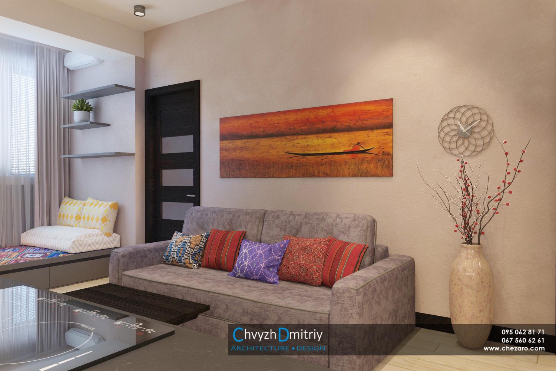 Кухня-гостиная Дизайн интерьера этно тектиль диван декор гостиная столовая