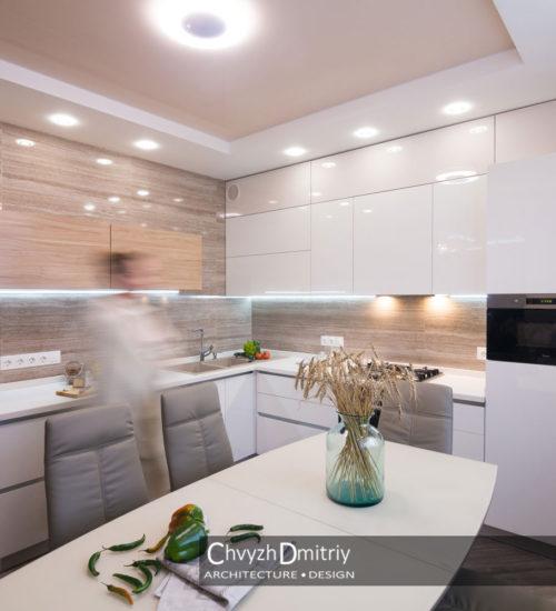 Кухня столовая обеденный стол стулья встроенная техника рабочая зона кухонный фартук керамическая плитка керамогранит декор текстиль натяжной потолок современный дизайн интерьер квартиры минимализм фьюжн дизайн кухни кухонная мебель