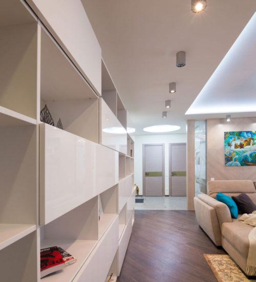 Гостиная холл диван прихожая коридор шкаф полки система хранения шпонированные панели картина текстиль декор современный дизайн интерьер квартиры минимализм фьюжн дизайн гостиной