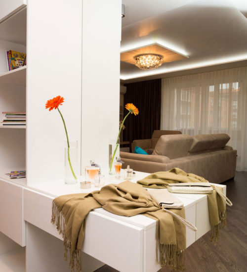 Прихожая коридор зеркало консоль шкаф декор современный дизайн интерьер квартиры минимализм фьюжн