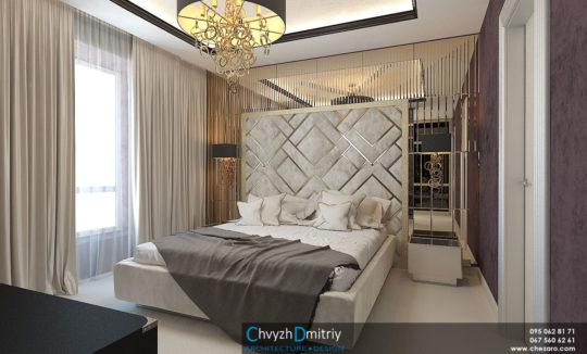 Спальня кровать изголовье зеркальные панели зеркало классика роскошь шик элегантный дизайн арт-деко артдеко современный дизайн современная классика Sigma L2 RINGS CO