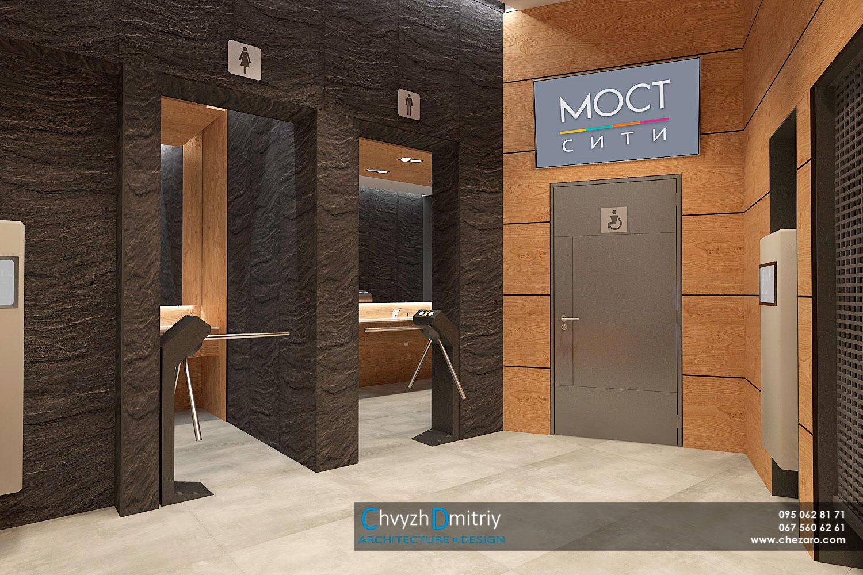 Входная группа зона ожидания санузел общественный туалет HPLпанели вендинговые автоматы современный дизайн минимализм керамогранит турникет