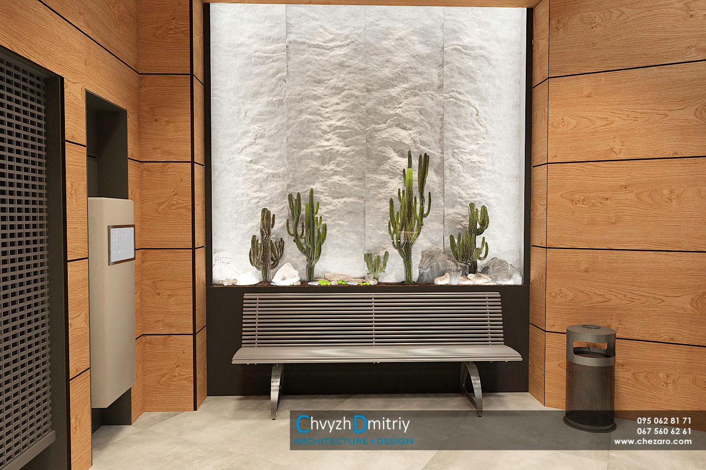 Общественный санузел HPLпанели вендинговые автоматы лавка скамья флоррариум кактусы суккуленты современный дизайн минимализм керамогранит