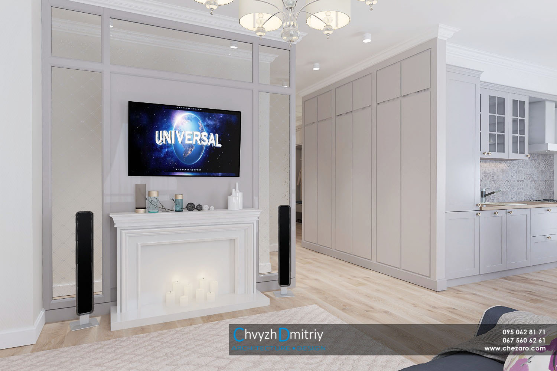 Кухня гостиная студия современный дизайн интерьер квартиры неоклассика эклектика камин фальшкамин стеклянная перегородка твзона стеновая панель паркет ламинат