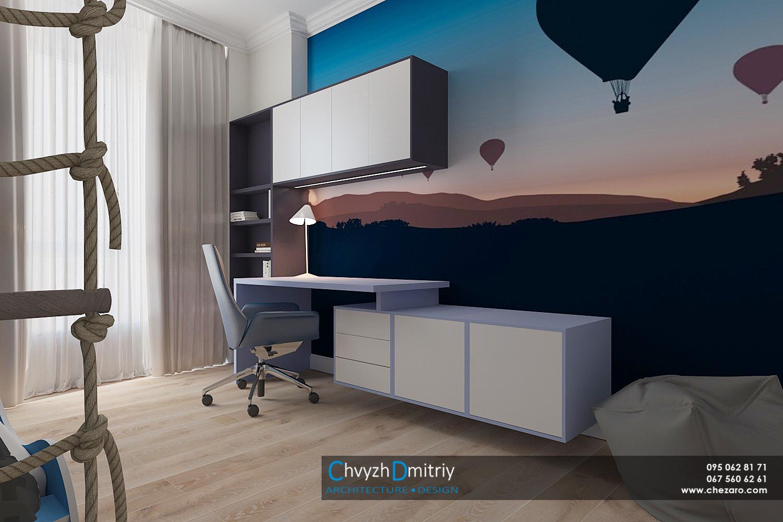 Детская спальня детская комната рабочий стол кресло мебель камод фотообои декор текстиль освещение шведская стенка кресло мешок пуф