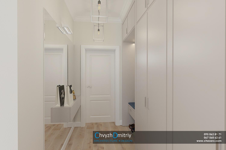 Холл прихожая вход консоль современный дизайн эклектика неоклассика гардероб шкаф зеркало люстра освещение декор интерьер квартиры