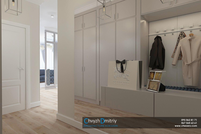 Холл прихожая вход современный дизайн эклектика неоклассика гардероб шкаф зеркало люстра освещение декор интерьер квартиры