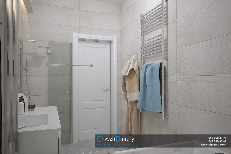 Санузел ванная комната умывальник зеркало душевая керамогранит освещение полотенцесушитель