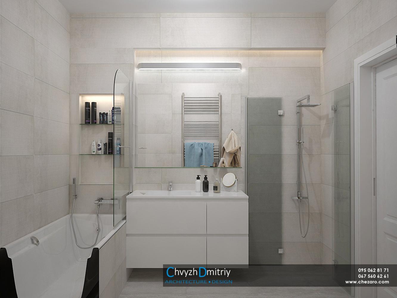 Санузел ванная комната ванна умывальник зеркало душевая керамогранит освещение