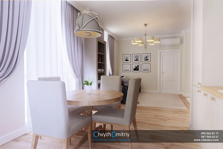 Кухня столовая студия современный дизайн интерьер квартиры неоклассика эклектика камин обеденный стол стулья диван декор текстиль стеновая панель паркет ламинат люстра