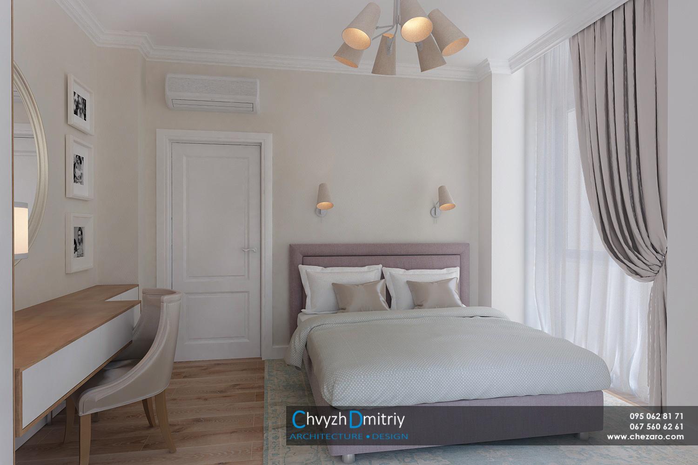 Спальня кровать изголовье рабочий стол кабинет туалетный столик текстиль декор ламинат паркет кресло люстра бра зеркало настольная лампа