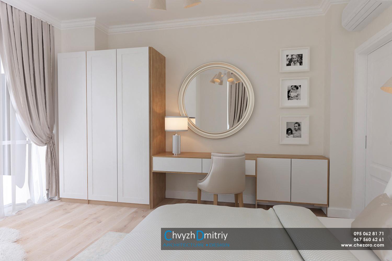Спальня кровать рабочий стол кабинет туалетный столик текстиль декор ламинат паркет кресло кокон люстра бра зеркало настольная лампа панорамные окна шкаф гардероб