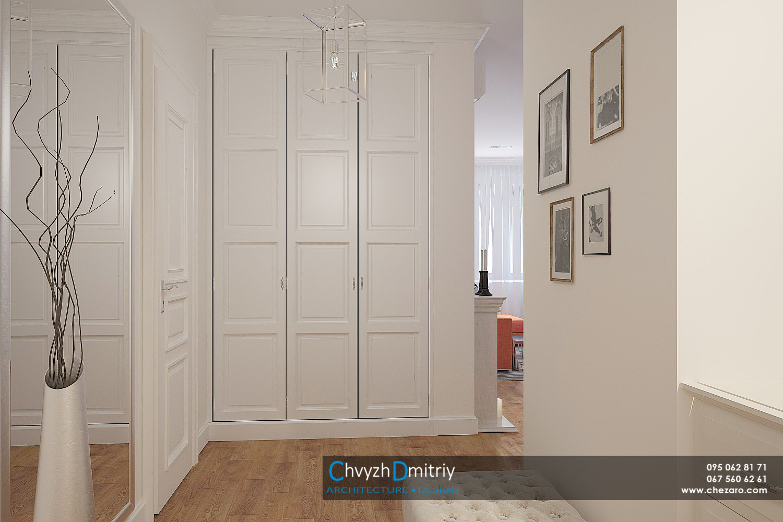 Холл прихожая входная зона шкаф гардероб зеркало современный дизайн интерьера неоклассика классика