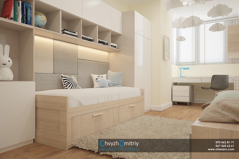 Детская комната спальня минимализм современный дизайн кровать декор текстиль полки твзона комод консоль шкаф система хранения