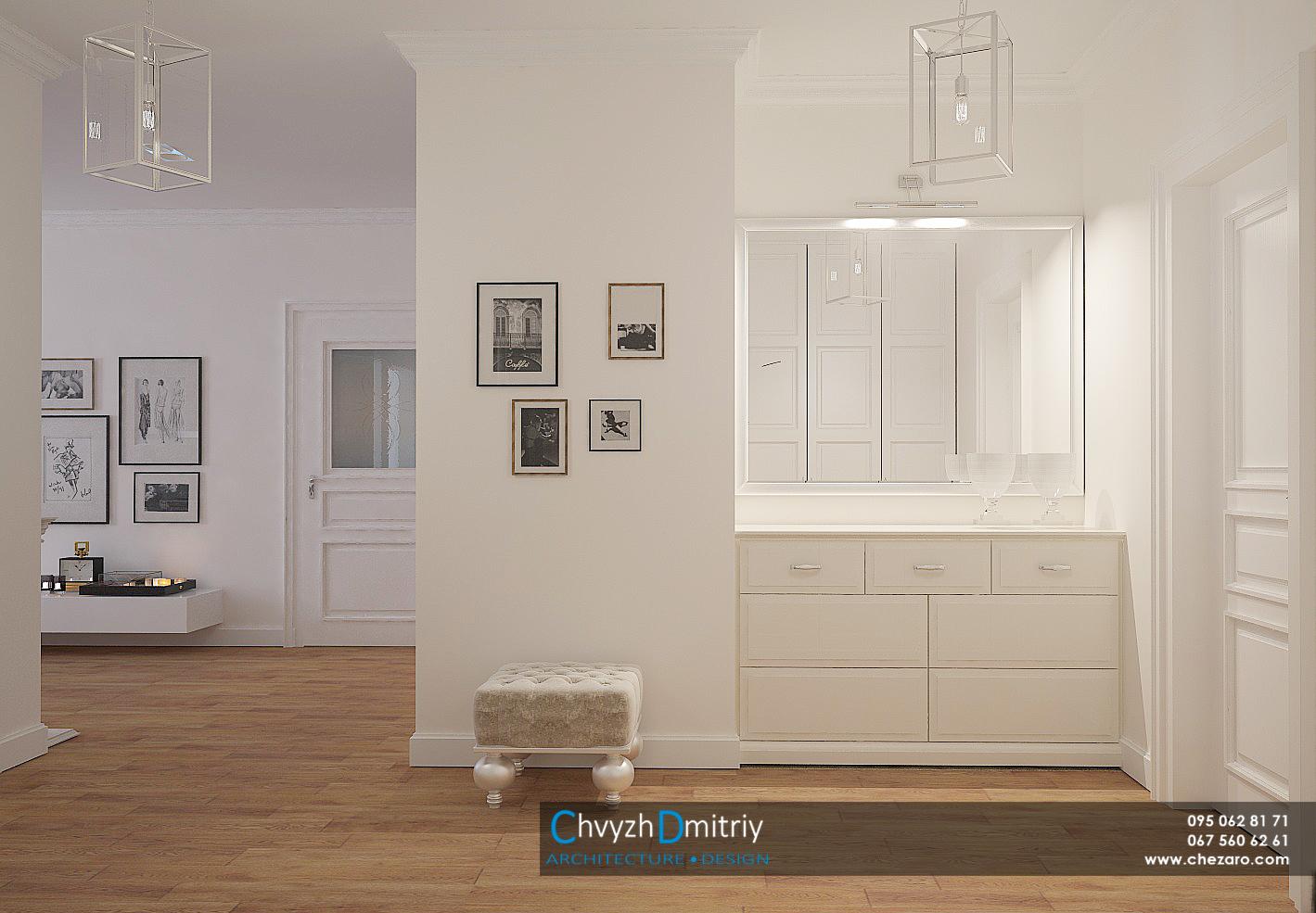 Холл прихожая входная зона шкаф гардероб зеркало современный дизайн интерьера неоклассика классика комод хранение освещение светильники люстра