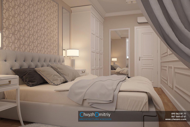 Спальня кровать классика неоклассика классическая мебель стеновые панели молдинг фриз зеркало тумбы кресло ковер шкаф