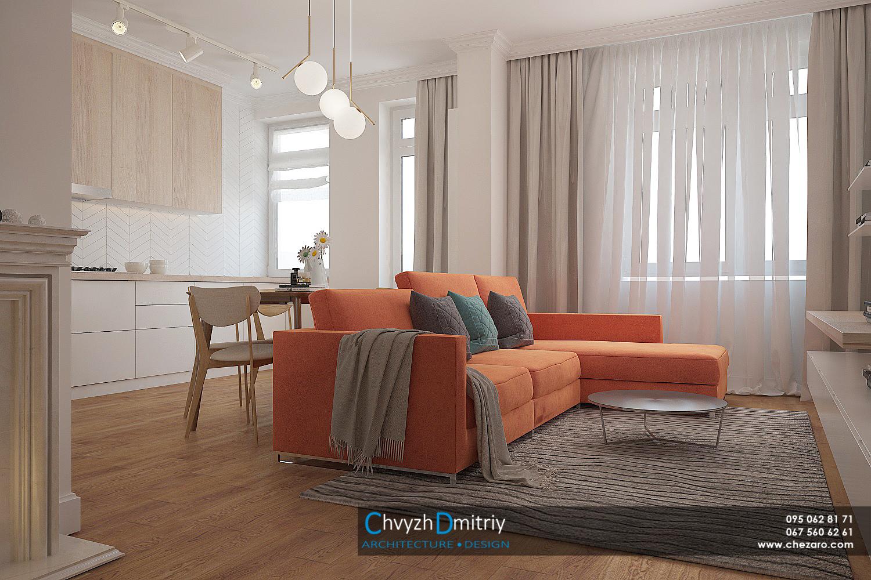 Кухня гостиная студия консоль твзона диван декор текстиль паркет ламинат ковер классика неоклассика современный дизайн столик зеркало керамическая плитка шеврон