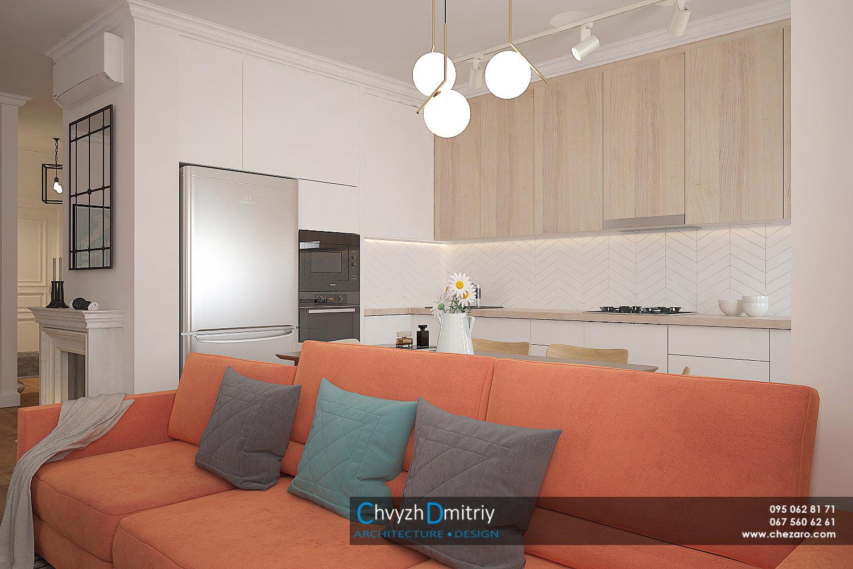 Кухня гостиная диван декор текстиль паркет ламинат ковер классика неоклассика современный дизайн керамическая плитка шеврон люстра обеденный стол стулья камин встроенная техника