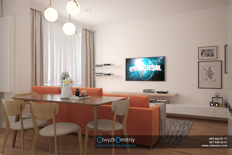 Столовая гостиная студия консоль твзона диван декор текстиль паркет ламинат ковер классика неоклассика современный дизайн люстра обеденный стол стулья
