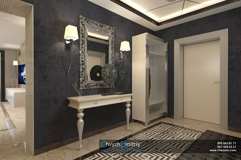 Холл прихожая зеркало в багетной раме классическая мебель арт-деко артдеко классика роскошь