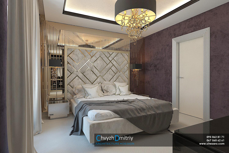 Спальня кровать изголовье зеркальные панели зеркало классика роскошь шик элегантный дизайн арт-деко артдеко современный дизайн современная классика люстра Sigma L2 RINGS CO бра