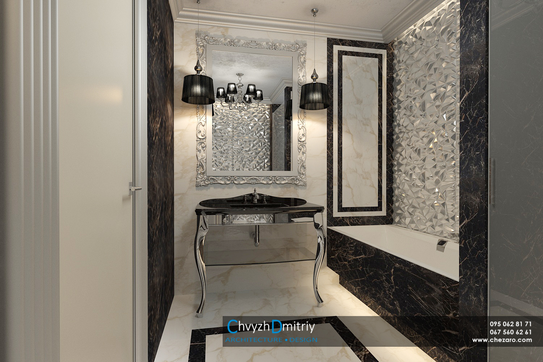 Санузел ванная комната ванна душевая умывальник зеркало в багетной раме классика мрамор керамогранит артдеко арт-деко