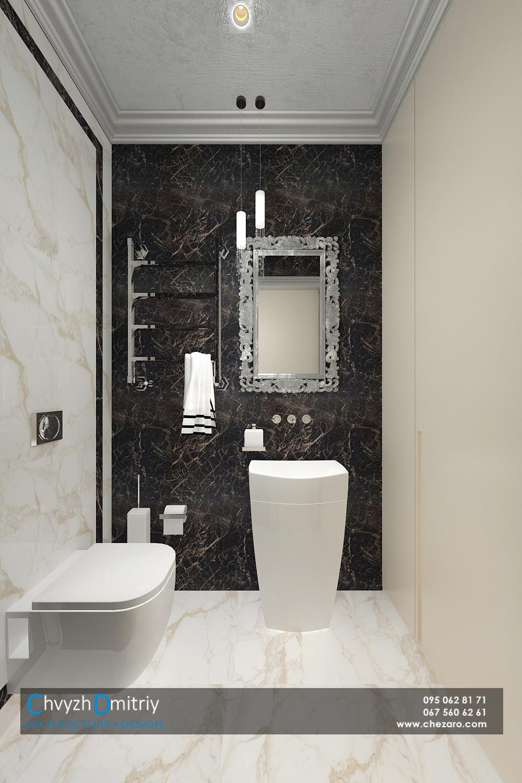 Санузел гостевой туалет унитаз классический стиль умывальник зеркало в багетной раме классика мрамор